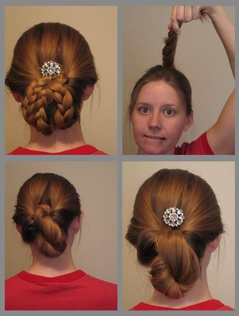 Easy up-do / Edwardian hairstyle. Start with a medium height ponytail. Flip ponytail in on ...
