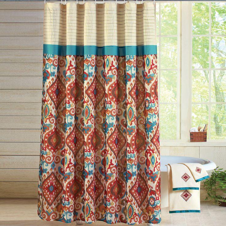 Breckenridge Southwest Aztec Fabric Shower Curtain #WinstonBrands #Southwestern