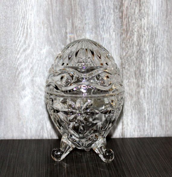 Crystal Candy Dish Footed and Egg Shaped Alexandra Pattern by