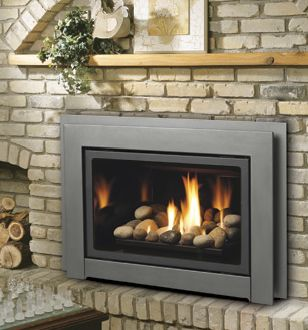 Gas Log Fireplace Insert | stoves gas logs modern linear gas fireplace multiside gas units.   Like the simple wood mantel too. Niche for wood is a little silly.