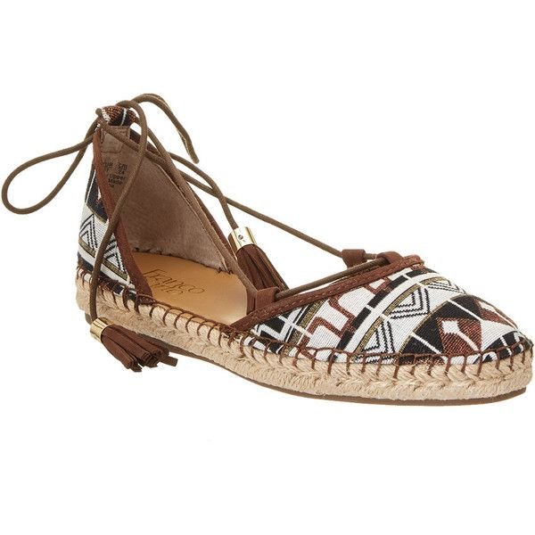 Franco Sarto Dream Espadrille (1.820 RUB) ❤ liked on Polyvore featuring shoes, sandals, brown, lace-up sandals, braided sandals, lace up espadrille sandals, franco sarto sandals and lace up espadrilles