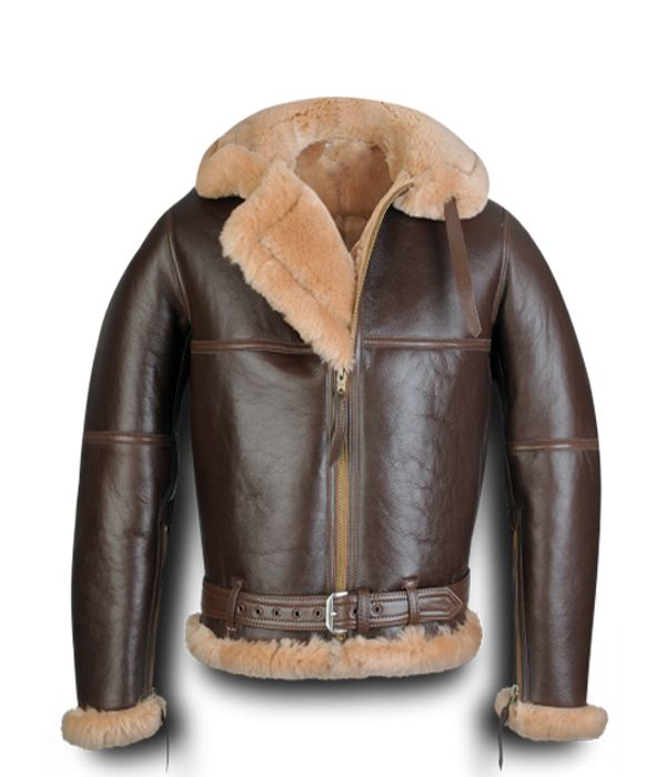 Shearling Bomber Coats for Men | Koen RAF Sheepskin Bomber Jacket - Leather4sure Shearling Jackets