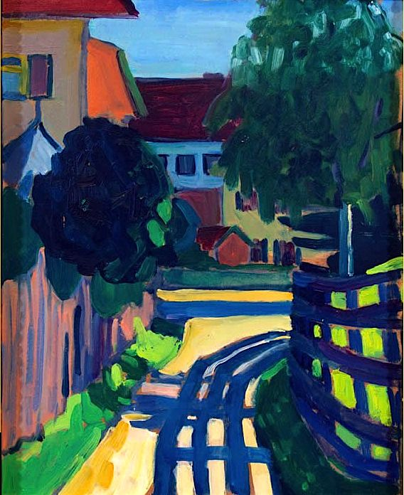۩۩ Painting the Town ۩۩ city, town, village & house art - Gabriele Münter | Zaunschatten, 1908