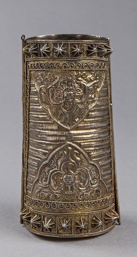 Indonesia ~ South Sulawesi | Tall armlet ~ 'Tigero Tedong' ~ silver gilt | 19th century