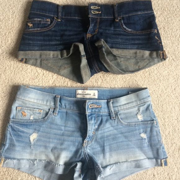 "BUNDLE abercrombie Jean shorts bundle of 2 pairs of abercrombie Jean shorts. light wash and dark wash. light wash is size 16 and dark was is size 14 in kids, but they both measure 14"" at the waist. fits a 00 comfortably. Abercrombie & Fitch Shorts Jean Shorts"