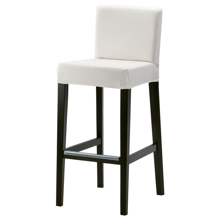 IKEA - HENRIKSDAL, Barkruk met rugleuning, 74 cm, , De gestoffeerde zitting geeft een goed zitcomfort.Met voetsteun: biedt ondersteuning aan vermoeide voeten.De stoelpoten zijn gemaakt van massief hout en dat is een slijtvast natuurmateriaal.Bekleding machinewasbaar; makkelijk schoon te houden.