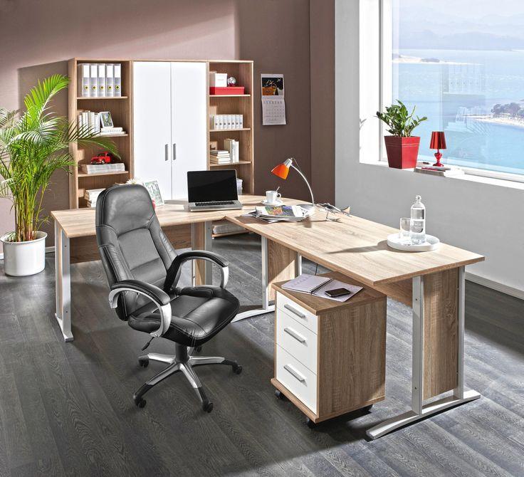 Awesome Einfache Dekoration Und Mobel Flexibel Und Hochwertig Bueroeinrichtung Mieten #10: Büro Kombination Eichefarben, Weiß