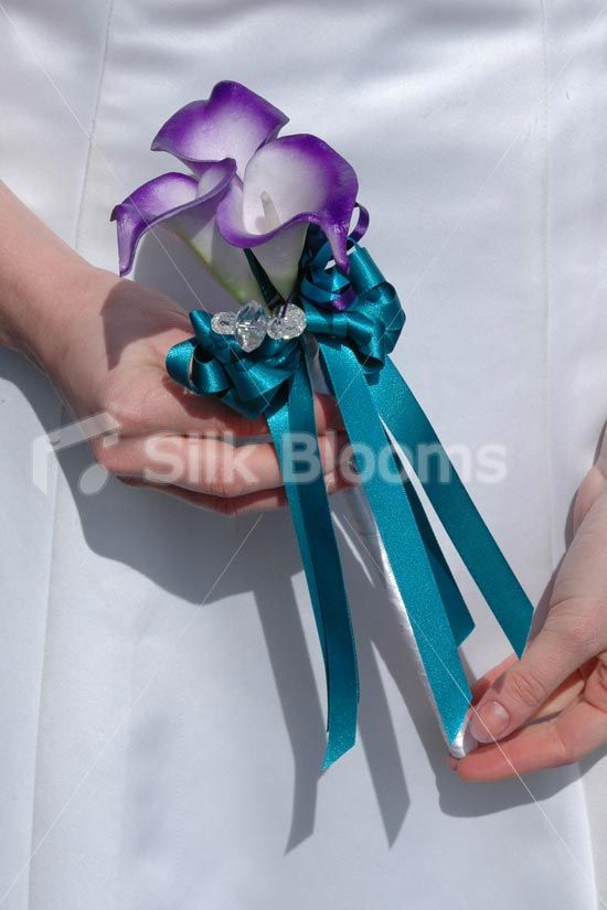 teal and purple bridal bouquet | Modern, Teal and Purple Calla Lily  Freesia Bridal Bouquet