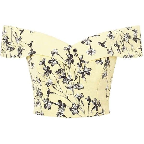Miss Selfridge Yellow Floral Structured Bardot Top ($68) ❤ liked on Polyvore featuring tops, shirts, yellow, polyester shirt, miss selfridge tops, beige top, shirt top and floral print tops