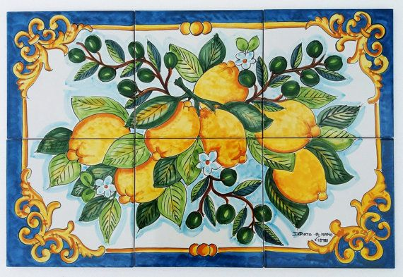 Hand Painted Tile Mural - Lemon Branch - Olive Branch - Table Top Decor - Kitchen Tiles - Home Decorating - Green and Yellow - Ceramic Lemon