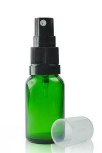 15ml Green Glass Dropper Bottle & 18mm Black T/E Atomiser Spray