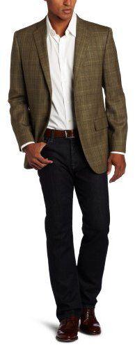 $595, Olive Plaid Blazer: Joseph Abboud 2 Button Side Vent Plaid Sport Coat. Sold by Amazon.com. Click for more info: http://lookastic.com/men/shop_items/31289/redirect