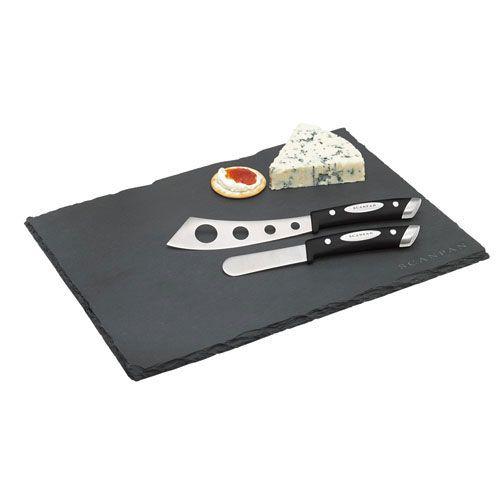 Scanpan 3pc Cheese Knife and Slate Cutting Board Set