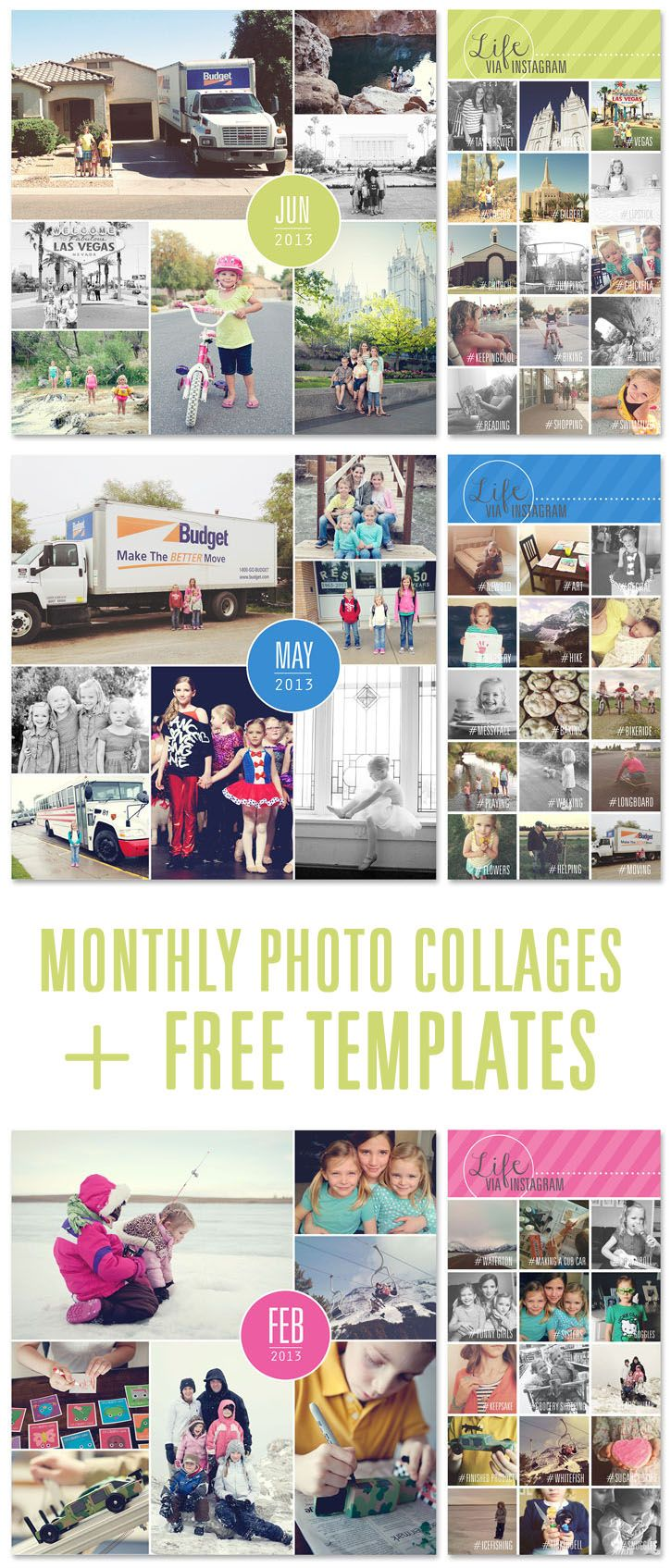 Simple memory keeping using photo collages. Free templates included.