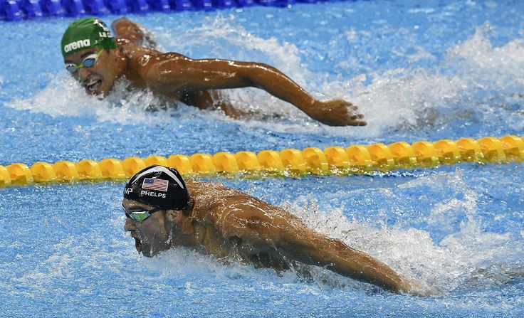 Michael Phelps.  Photo captures the moment Michael Phelps' nemesis realized he was doomed