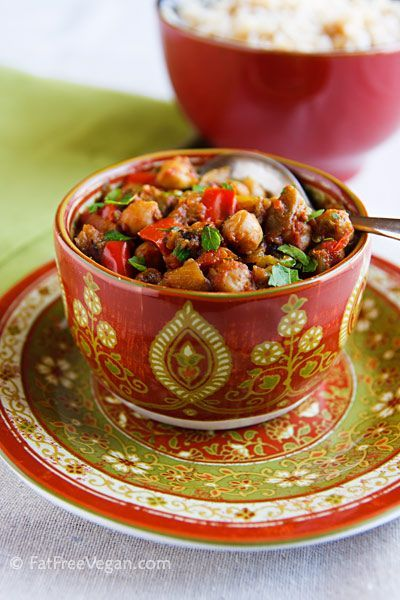 Eggplant and Chickpea Curry - #vegan #low-fat #gluten-free #vegetarian