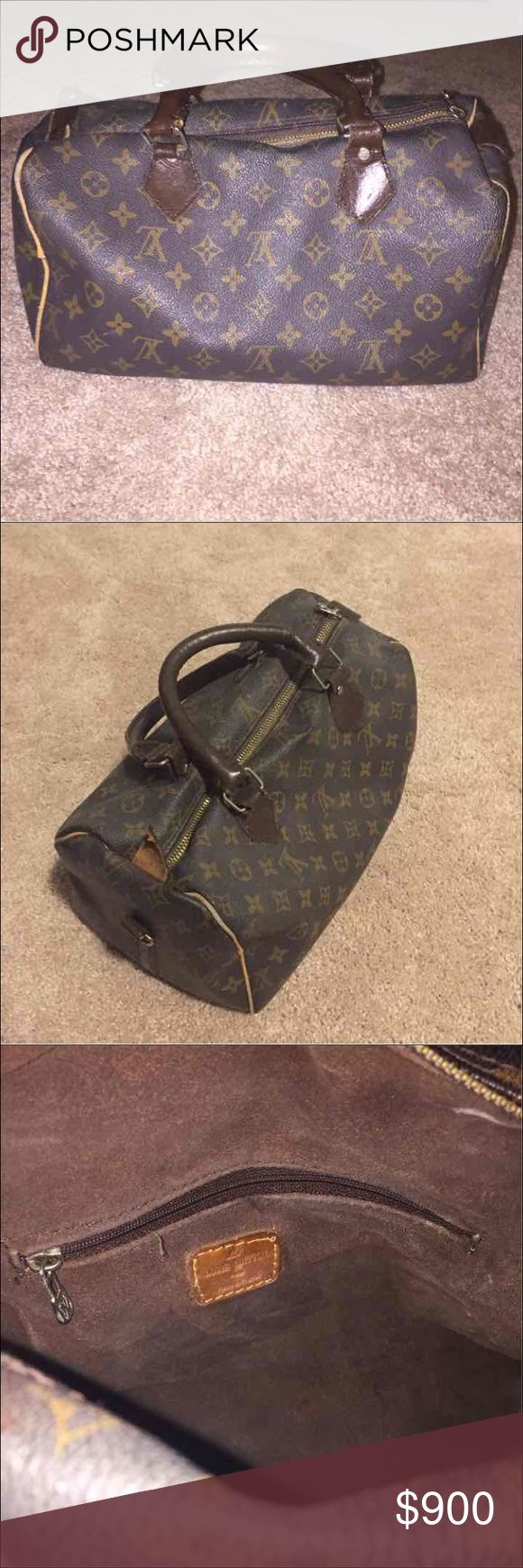 Vintage Louis Vuitton Handbag Vintage LV small handbag. Measures about 11.5 inches across and about 7 inches height. Has one zipper on the inside. It is a beautiful antique perfect for collectors. Willing to go down on price if purchased through PayPal. Louis Vuitton Bags Totes
