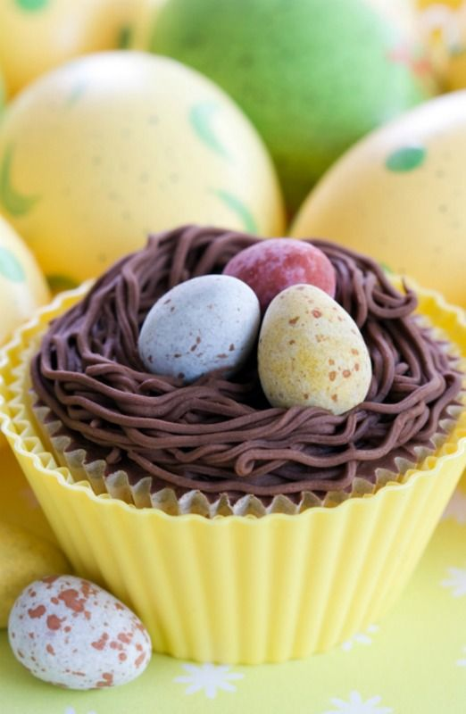 Chocolate Birds Nest Cupcakes