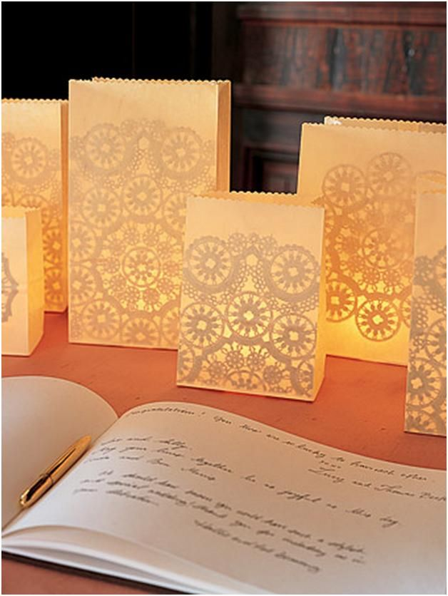 paper bags with paper doilies attached, candle inside= affordable and charming decorations