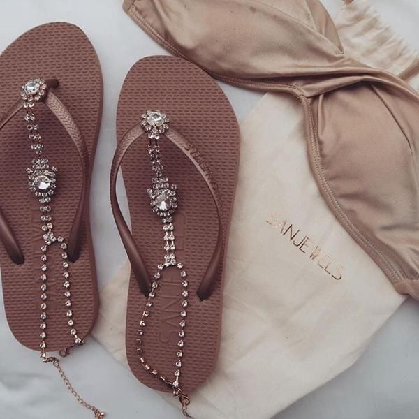 The perfect jewelled shoe for a casual bohemian-style beach wedding! French Riviera (Bronze-Gold) by Sanjewels.