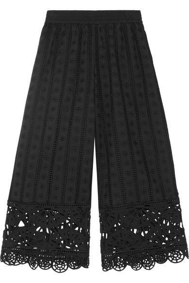 Opening Ceremony - Cropped Broderie Anglaise Cotton Wide-leg Pants - Black - medium
