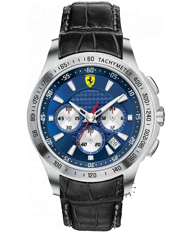 FERRARI Scuderia Chronograph Black Leather Strap, 399€ http://www.oroloi.gr/product_info.php?products_id=33396
