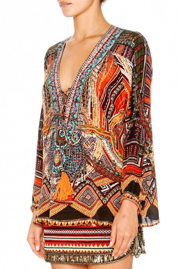 If I were going to Club Med Bali, I would be sure to pack my CAMILLA - DANCE OF THE DAO LACE UP SHIRT - Shop