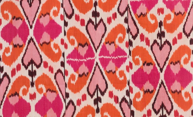 Madeline Weinrib's Hot Pink & Orange Mor. I keep waiting to tire of ikats, and pink and orange for that matter, but so far, nothing.