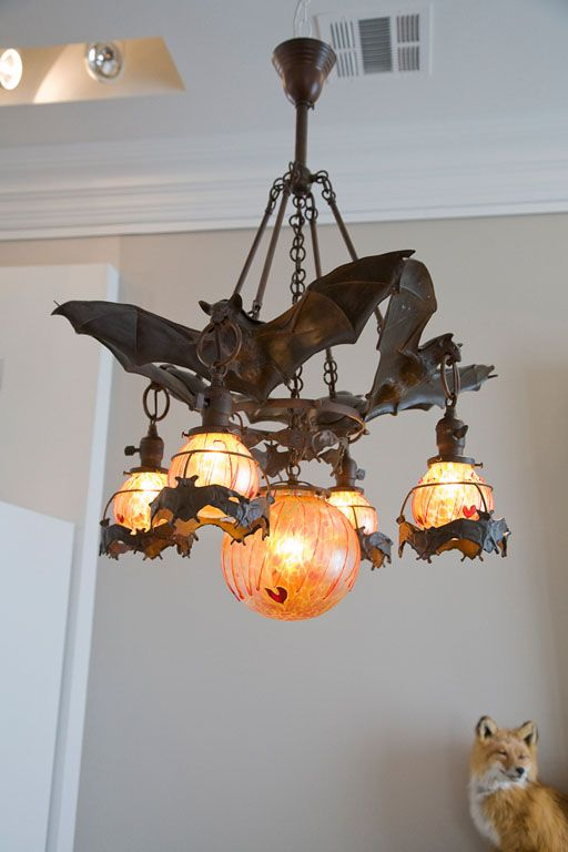 Austrian Bronze Bat Chandelier with Glass Orbs – FULLER + ROBERTS Co.  Ohhh I soooo want this for my lounge!
