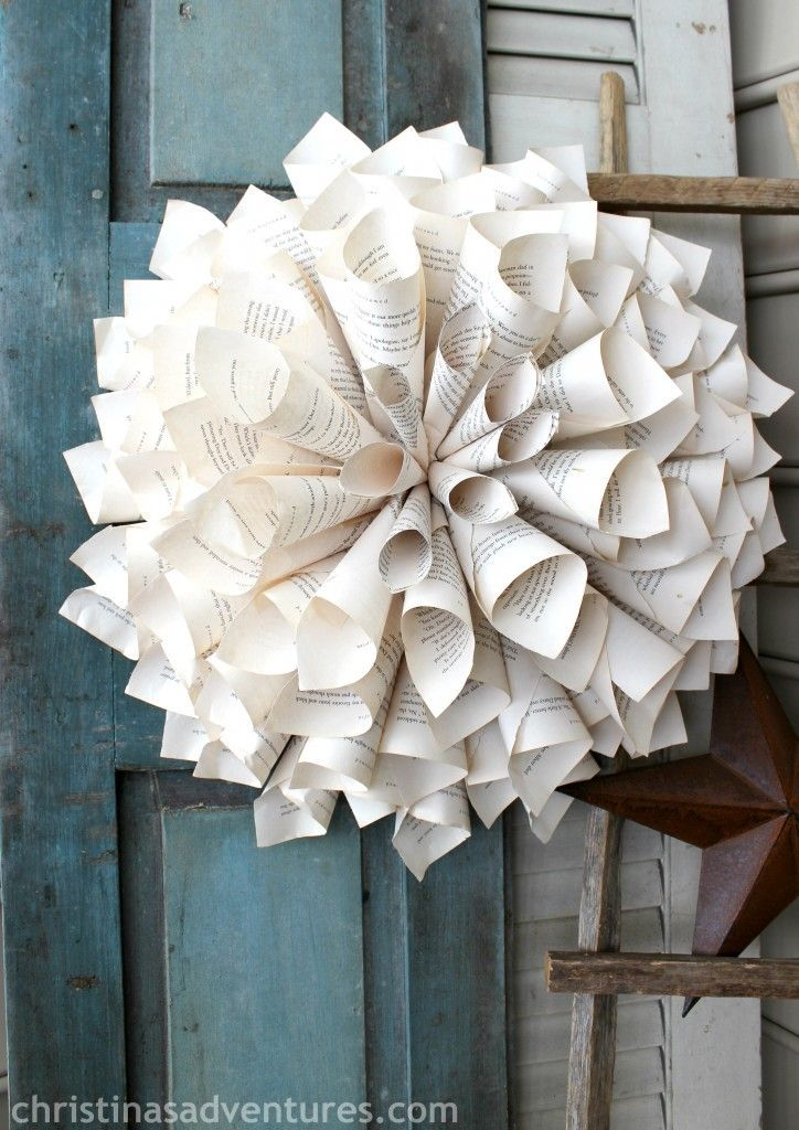 gorgeous rolled book page wreath tutorial