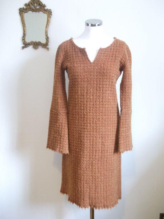 Robe en laine orange vintage Agnès B années 90 taille M