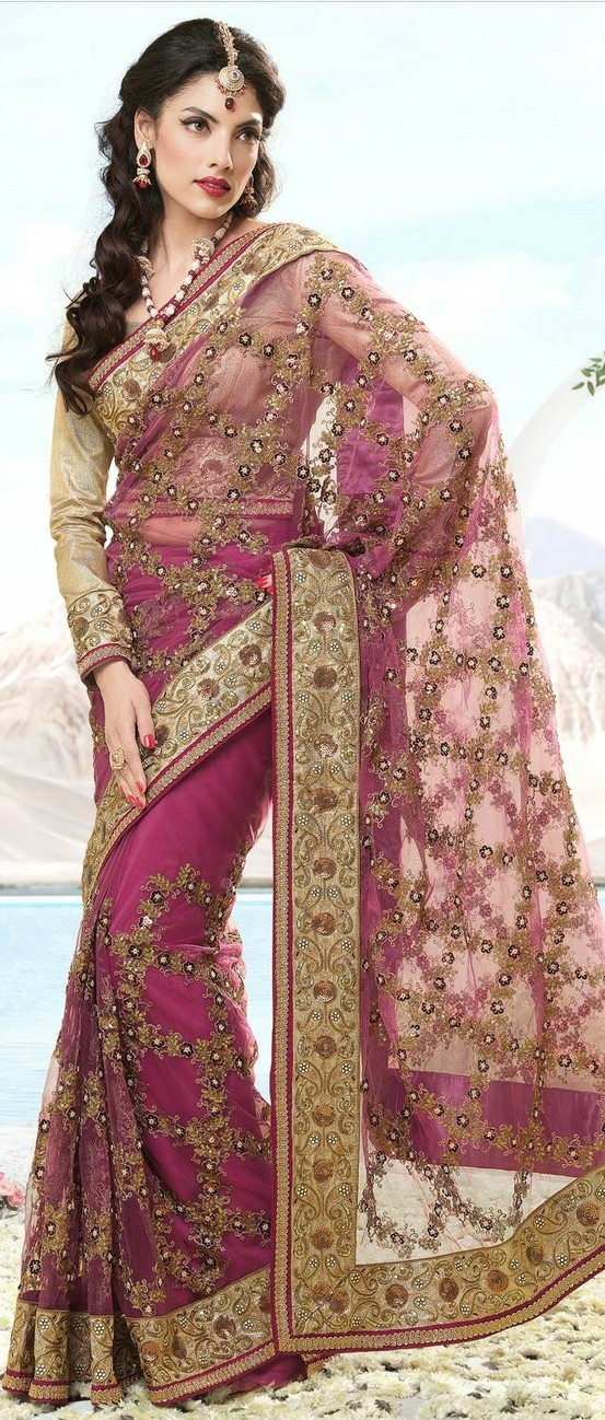 Onion #Pink Net #Saree With Blouse @ $236.70