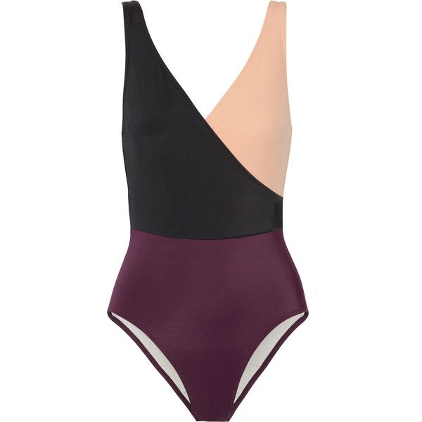 Solid and Striped The Ballerina color-block swimsuit found on Polyvore featuring swimwear, one-piece swimsuits, swimsuit, bathing suits, swim, beach, burgundy swimsuit, wrap around swimsuit, wrap swimsuit and striped one-piece swimsuits
