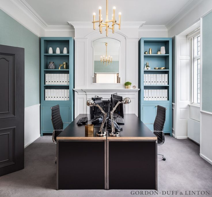 Office with bespoke blue joinery. #GD&LBespoke