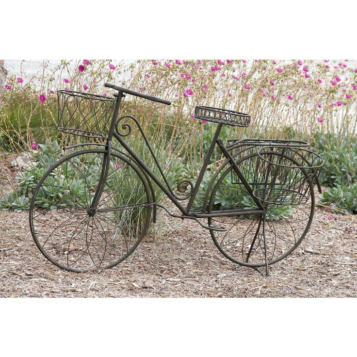 31 in. x 56 in. Rustic Iron Vintage Bicycle Frame Planter, Metallics