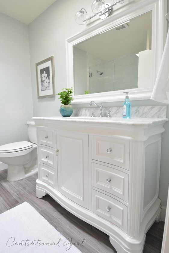 This clean look is great for your bathroom remodel  It can be added to with  colorful decor  without the permanence of bright walls    Jon E VAC. 17 Best ideas about White Vanity Bathroom on Pinterest   White