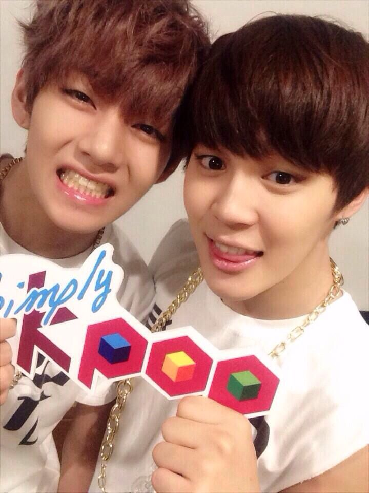 simply kpop uploads a selca of V (taehyung) and jimin ...