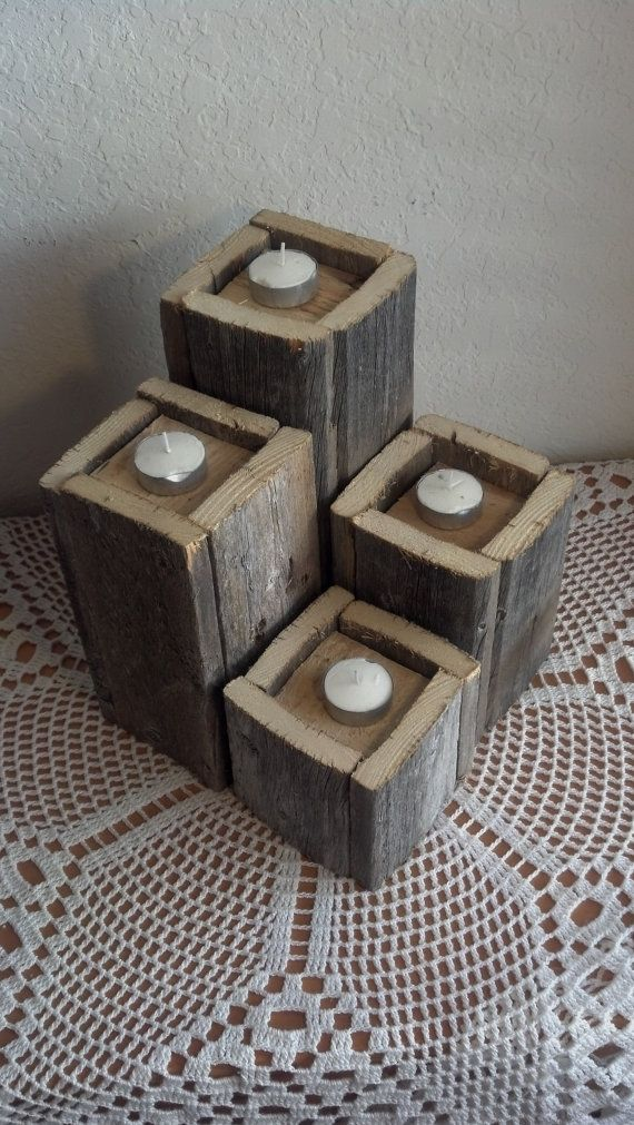Rustic Wooden Candle Holders by 116Creations on Etsy