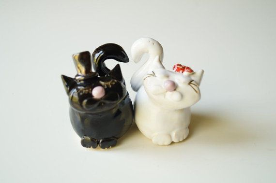 Cat Cake Topper Cat Couple Wedding Cake Topper White by HerMoments