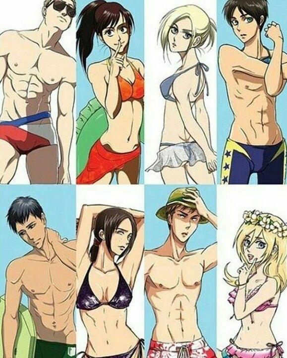 Reiner, Sasha, Annie, Eren, Bertholdt, Ymir, Jean, Historia beach day swim suit shirtless modern fashion