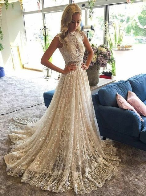A-Line High-Neck Court Train Lace Wedding Dress with Appliques Beading