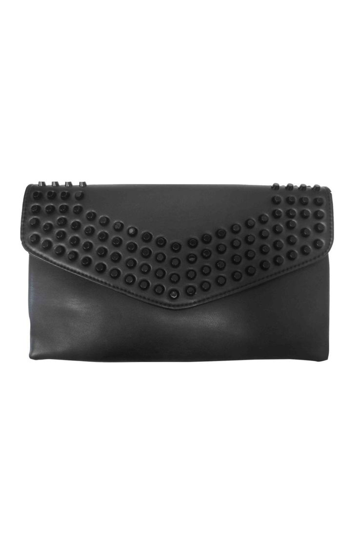 """Sondra Roberts new Studded Clutch is a great big evening bag to wear on a casual night out with friends. With magnetic snap flap closure opening to a top zip, there is one interior slip pocket and a leather strap that is removable, in order to wear the bag on the shoulder or as a crossbody.    Dimensions: 12""""W x 7.5""""L   Studded Clutch by Sondra Roberts. Bags - Clutches - Casual New York"""