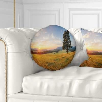 East Urban Home Lonely Tree on Meadow at Sunset Landscape Photography Throw Pillow