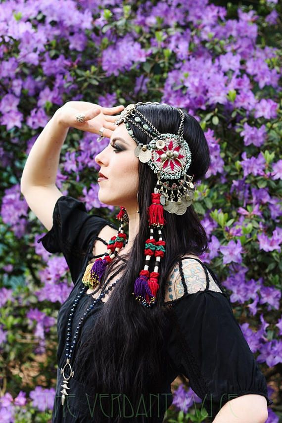 Magenta Gul & Cut Steel Tribal Fusion Headdress by the Verdant Muse