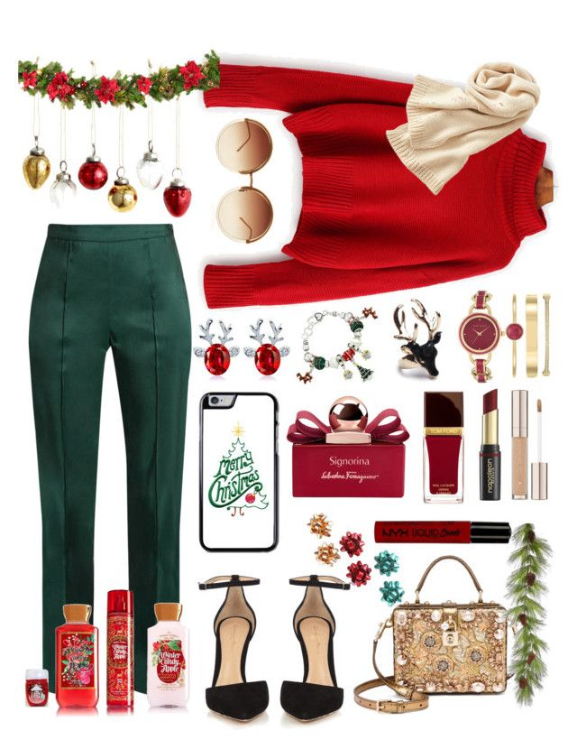 """Let's Christmas together 🎄"" by stephanie98ann ❤ liked on Polyvore featuring Rosie Assoulin, Gianvito Rossi, Dolce&Gabbana, Uniqlo, Linda Farrow, Anne Klein, Salvatore Ferragamo, Tom Ford, NYX and David Jones"