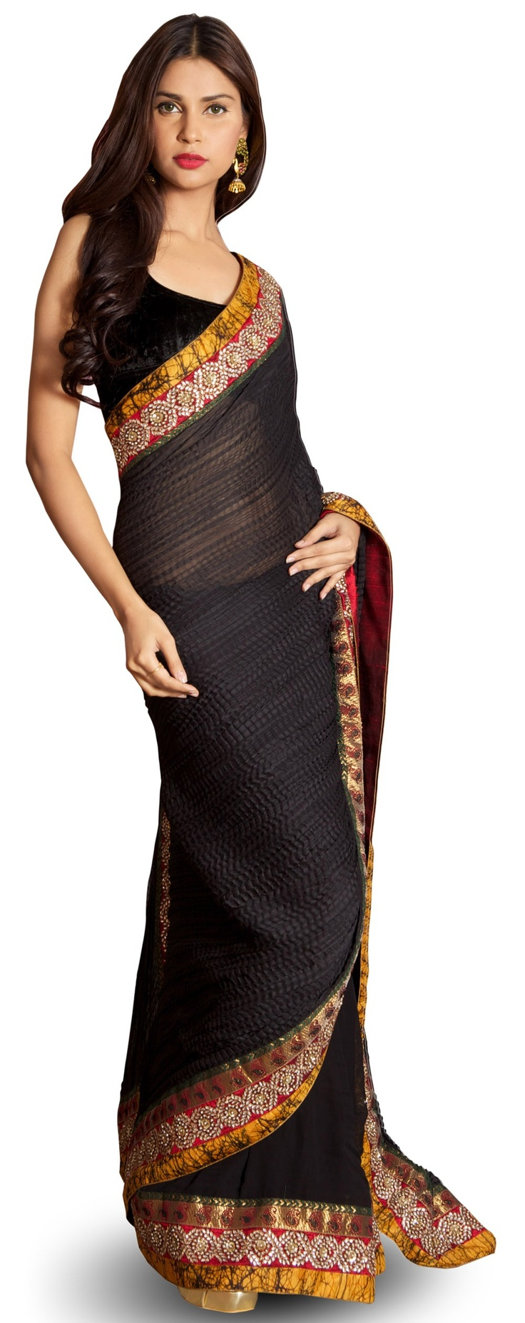 Black crushed chiffon saree