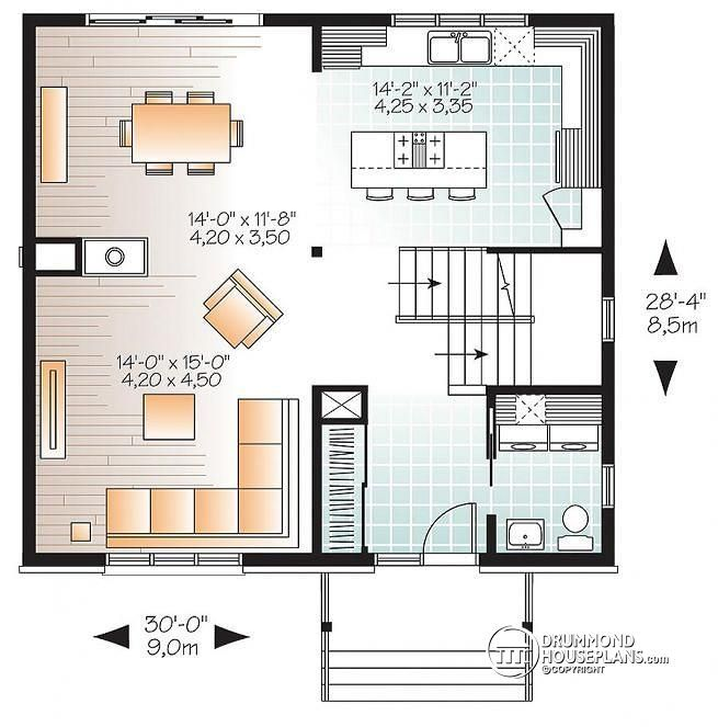 1st Level 3 Bedroom Small Modern House Plan Open Floor Concept With Three Sided Fireplace