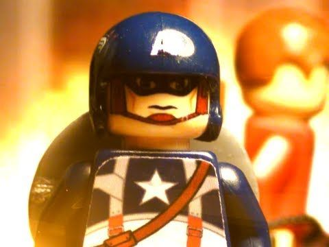A Captain America scene rendered with Legos and plenty of paint and clay and/or Play-doh.