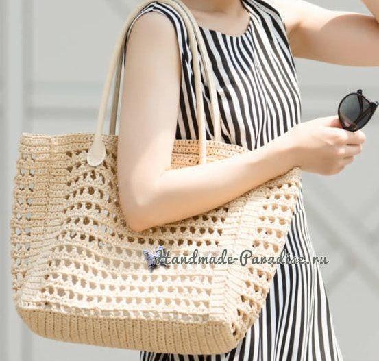 Летняя сумка крючком из бумажной рафии (5)
