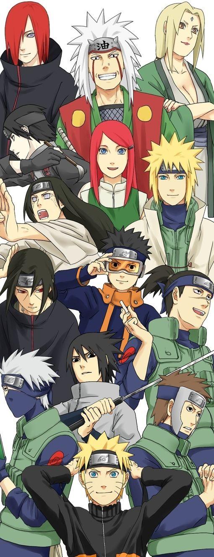 Naruto, Kakashi, Yamato, Iruka, Sasuke, Itachi Obito, Minato, Neji, Sai, Kushina, Nagato, Jiraiya, and Tsunade